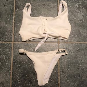 Other - White button up bikini and bottoms